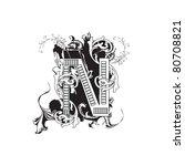 letter n ornate black and white | Shutterstock . vector #80708821