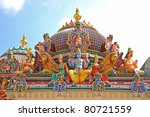 Hindu God Statues At A Hindu Temple - stock photo