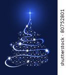 christmas tree with stars   Shutterstock .eps vector #80752801