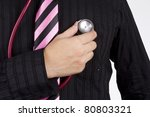 Small photo of heart check, man wear black shirt pink tie diag heart with stethoscope.