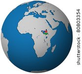 south sudan territory with flag on map of globe - stock photo