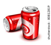 opened and closed red cola can | Shutterstock .eps vector #80812819