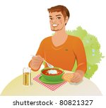 young man is having lunch... | Shutterstock .eps vector #80821327