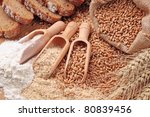 wood spoons with whole wheat... | Shutterstock . vector #80839456