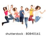 young group of casual  smiling... | Shutterstock . vector #80840161