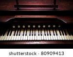 A Close Up Of A Antique Organ
