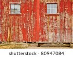 Red Old Barn With Two Windows...