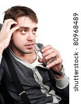 handsome white guy sitting on a ... | Shutterstock . vector #80968489