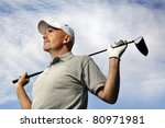 mature golf player - stock photo