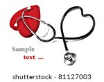 doctor's stethoscope and red... | Shutterstock . vector #81127003