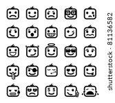 Set Of 25 Smiley Faces. Men...