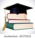 graduation cap on stuck of... | Shutterstock .eps vector #81172213