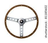 wooden rim steering wheel with... | Shutterstock .eps vector #81185602