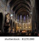 Interior Of Catholic Cathedral...