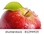 closeup isolated juicy red apple | Shutterstock . vector #81294925
