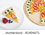 a slice of a large fruit tart | Shutterstock . vector #81404671