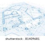 house plan blueprint | Shutterstock . vector #81409681