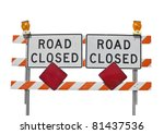 Old Road Closed Sign Isolated...