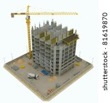 Worksite: top side view of unfinished building and tower crane isolated on white - stock photo
