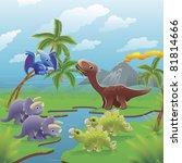 cute dinosaurs in prehistoric... | Shutterstock . vector #81814666