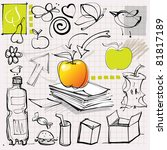 doodles (apples, fruits, etc.) - stock vector