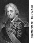 Horatio Nelson (1758-1805). Engraved by T.Woolnonth and published in The Gallery Of Portraits With Memoirs encyclopedia, United Kingdom, 1833. - stock photo