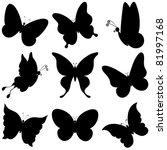 Vector  Butterflies  Black...