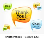 Thank you, chat, blog - glossy speech bubbles. Set of orange, green, blue balloon. - stock vector