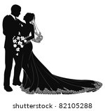 a bride and groom on their... | Shutterstock . vector #82105288