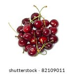 Fresh cherries isolated on white - stock photo