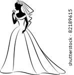 vector beautiful bride in dress | Shutterstock .eps vector #82189615