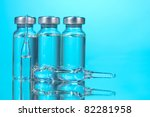 medical ampoules on blue...   Shutterstock . vector #82281958