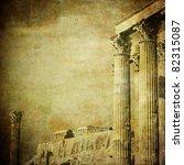 Vintage Image Of Greek Columns...