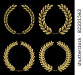 set from  gold laurel wreath on ... | Shutterstock .eps vector #82331563