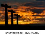 Crosses Silhouette Against The...