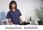 health care worker smiles while ... | Shutterstock . vector #82442035