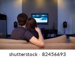 young couple waching  movie on... | Shutterstock . vector #82456693