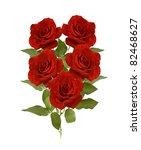Bunch Of Five Velvet Red Roses...