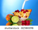 tasty cornflakes  fruit and... | Shutterstock . vector #82580398