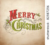 vintage christmas card. merry... | Shutterstock .eps vector #82587256