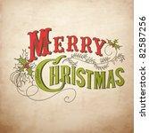 vintage christmas card. merry... | Shutterstock .eps vector #82587256