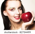 woman with red apple | Shutterstock . vector #82734499