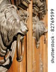 Golden Lion Head Knocker On Th...