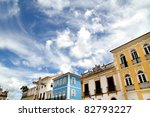 Historic Buildings in Salvador, Bahia, Brazil, South america. - stock photo
