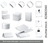 set of raster white paper  ... | Shutterstock . vector #82882060