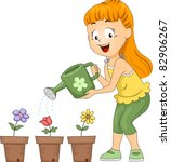 Illustration Of A Kid Watering...