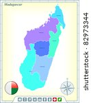 madagascar map with flag... | Shutterstock .eps vector #82973344