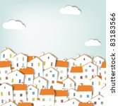 paper city panorama. seamless... | Shutterstock .eps vector #83183566