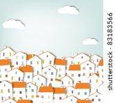 paper cut city panorama.... | Shutterstock .eps vector #83183566