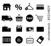 Shopping related objects icon set - stock vector